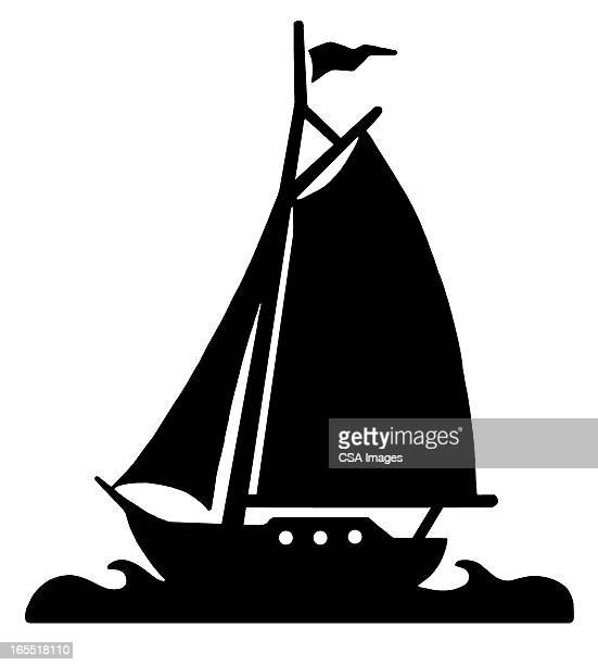 silhouette of a sailboat - nautical vessel stock illustrations