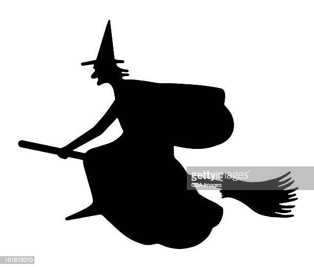 silhouette of a witch on broom - broom stock illustrations, clip art, cartoons, & icons
