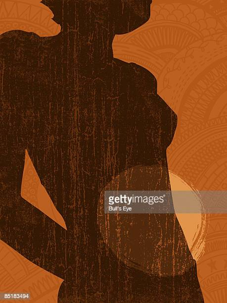 silhouette of a woman with a spotlight on her abdomen - menopause stock illustrations, clip art, cartoons, & icons