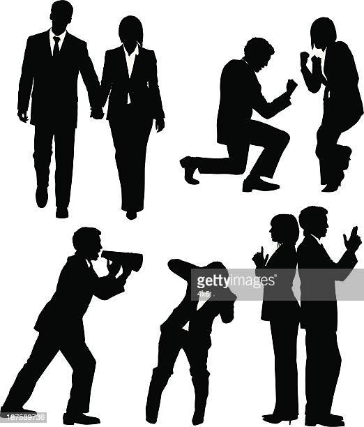 silhouette of busines executives - back to back stock illustrations, clip art, cartoons, & icons