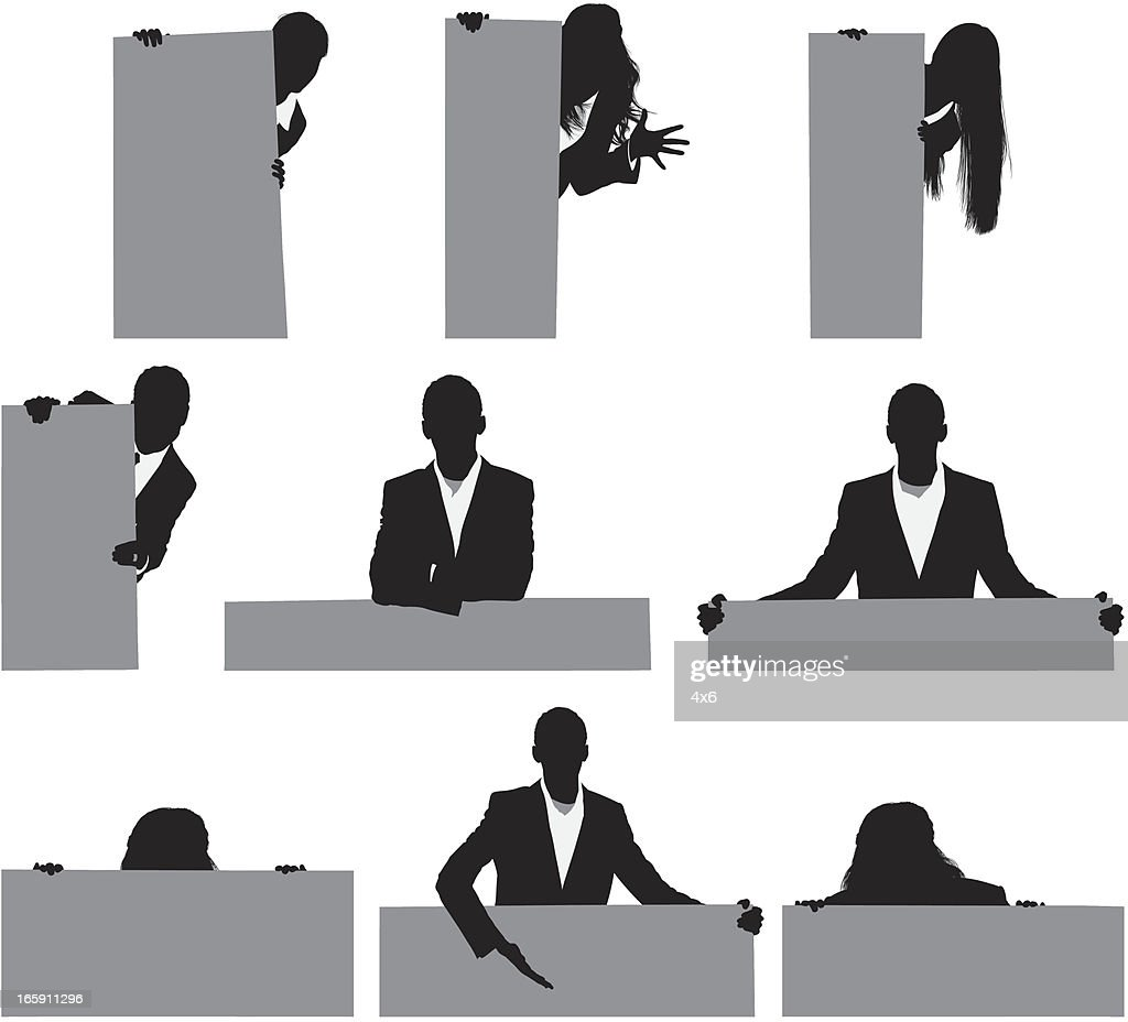 Silhouette of business executives with placards : stock illustration