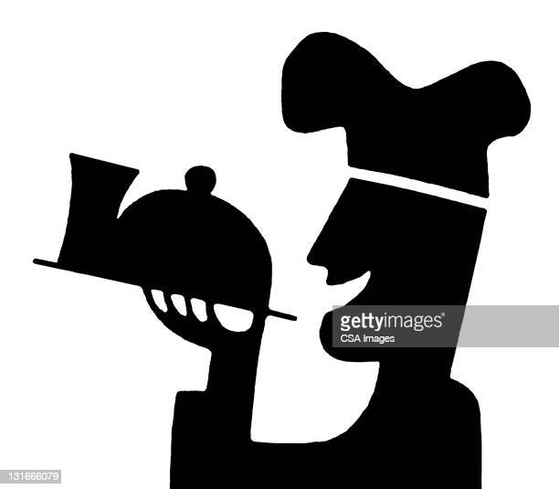 silhouette of chef holding tray - chef stock illustrations