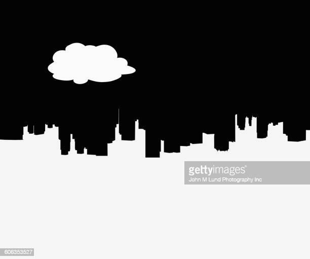 silhouette of city skyline - horizontal stock illustrations