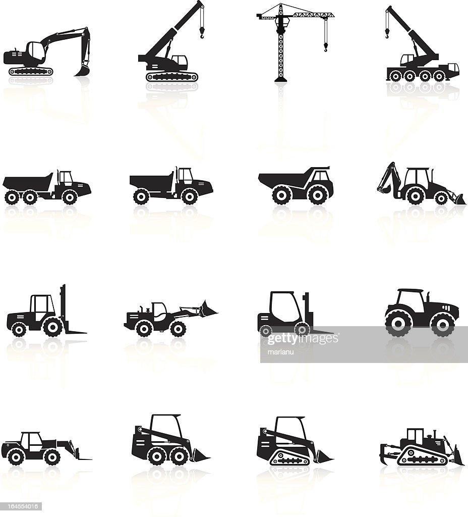 シルエットを建設車両にホワイト : ストックイラストレーション