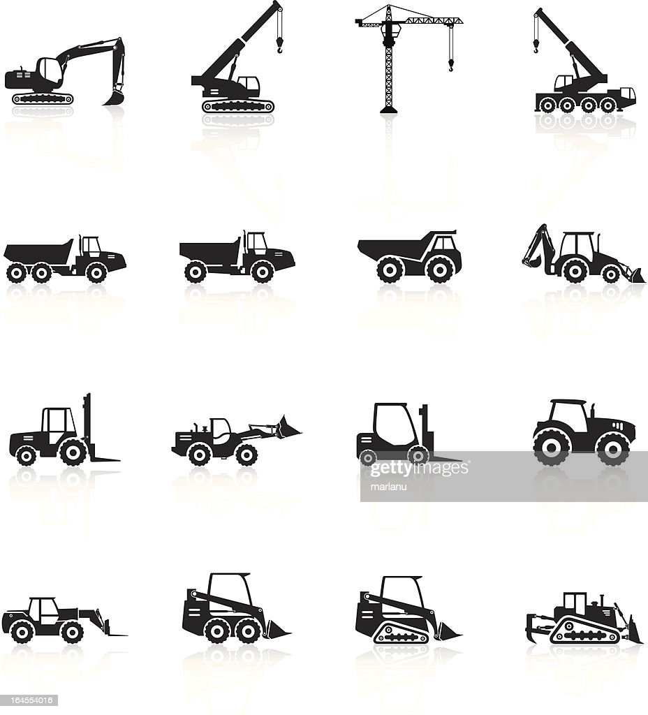 Silhouette of construction vehicles on white