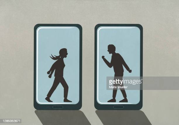 silhouette of couple fighting on smart phone screens - full length stock illustrations