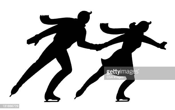 silhouette of couple ice skating - ice skating stock illustrations, clip art, cartoons, & icons