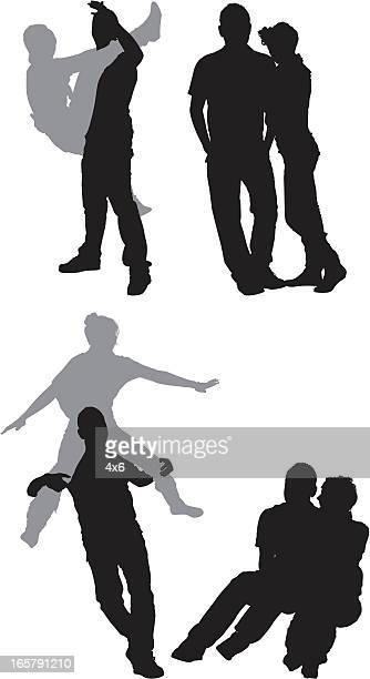 silhouette of couples - piggyback stock illustrations, clip art, cartoons, & icons