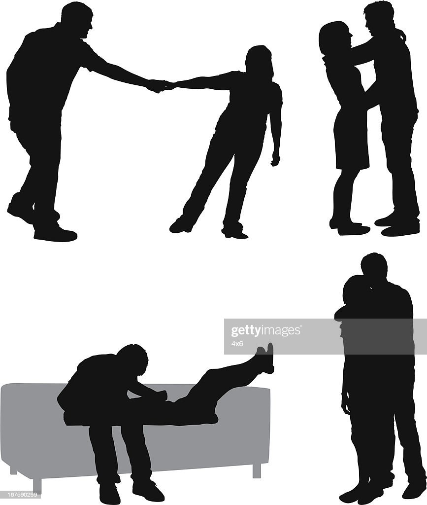 Silhouette of couples : stock illustration