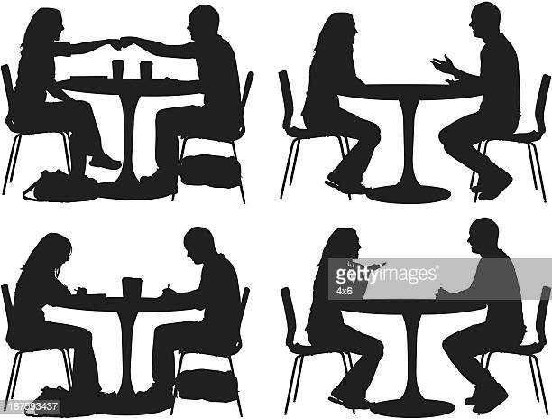 ilustraciones, imágenes clip art, dibujos animados e iconos de stock de silueta de pareja en un restaurante - grupo mediano de personas