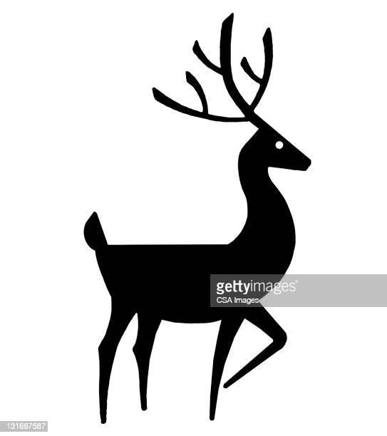 silhouette of deer - reindeer stock illustrations