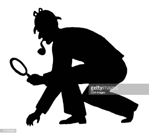 silhouette of detective - detective stock illustrations