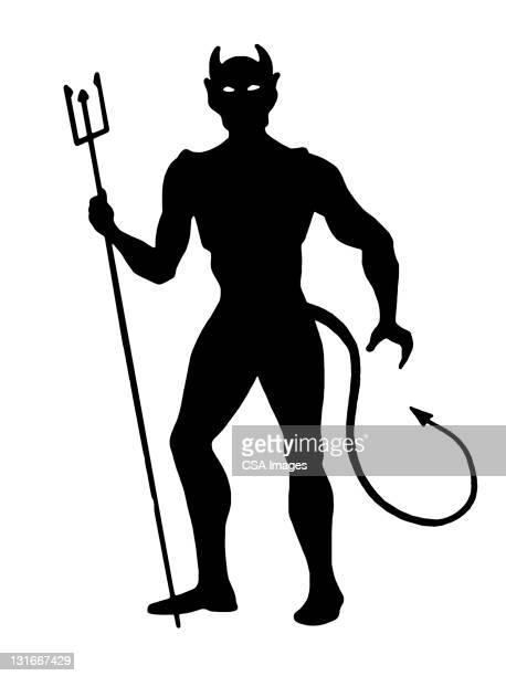 silhouette of devil holding pitchfork - devil stock illustrations
