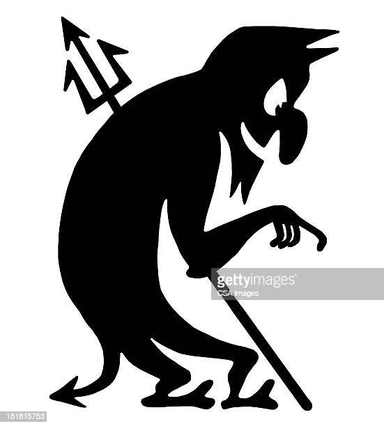 silhouette of devil pointing - tail stock illustrations