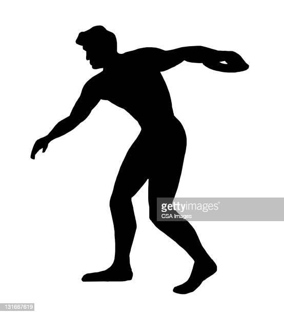 silhouette of discus thrower - discus stock illustrations, clip art, cartoons, & icons