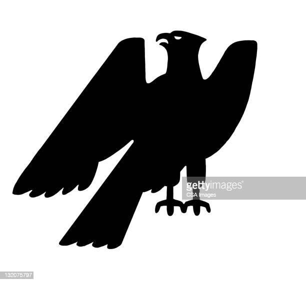 silhouette of eagle - bald eagle stock illustrations