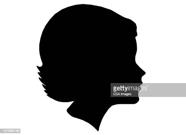 silhouette of female - black and white stock illustrations
