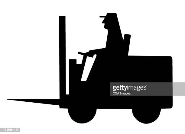 Silhouette of Forklift and Driver