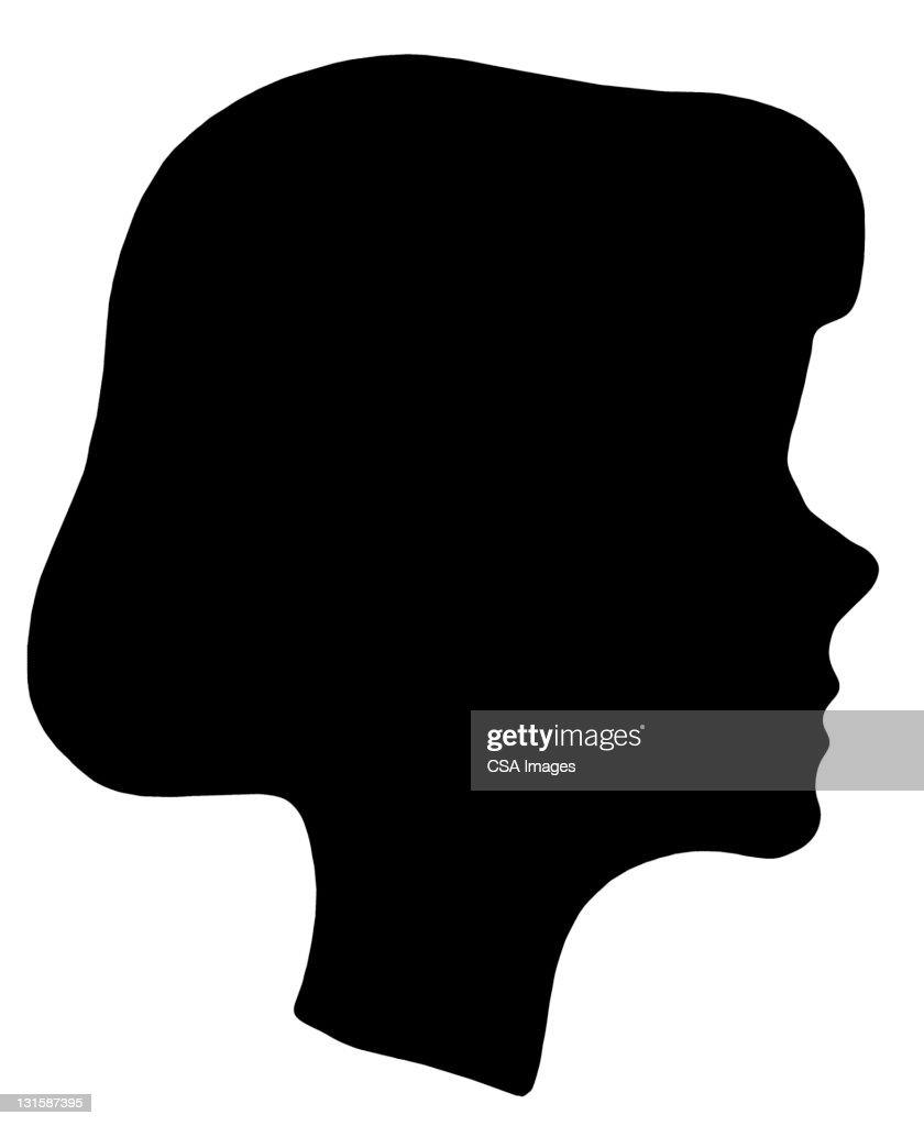 Silhouette of Girl's Head : Stockillustraties