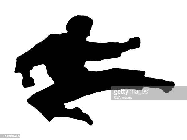 Silhouette of Karate Man