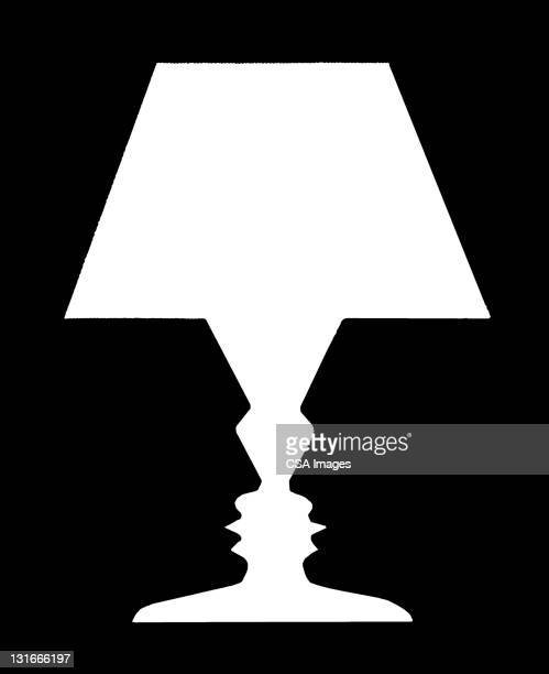 silhouette of lamp - two people stock illustrations