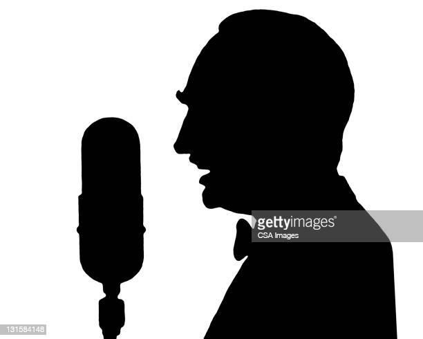 stockillustraties, clipart, cartoons en iconen met silhouette of man at microphone - presentator amusement