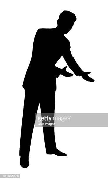 silhouette of man gesturing - salesman stock illustrations