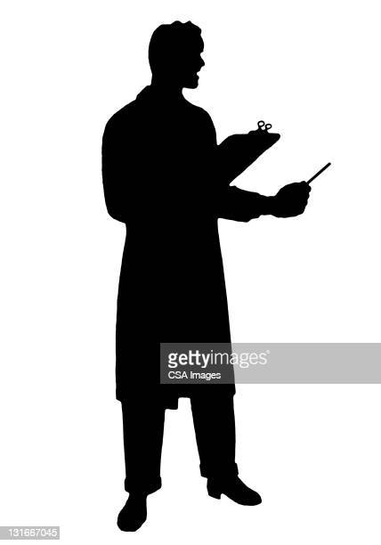 silhouette of man holding clipboard - vertical stock illustrations