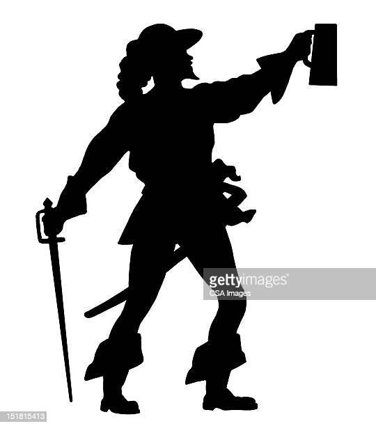 silhouette of man lifting mug - musketeer stock illustrations, clip art, cartoons, & icons