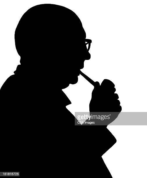 silhouette of man smoking pipe - 年配の男性点のイラスト素材/クリップアート素材/マンガ素材/アイコン素材