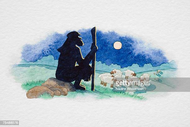 silhouette of man watching a flock of sheep - shepherd stock illustrations