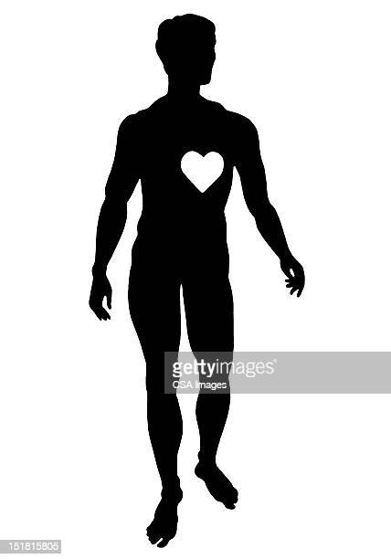 silhouette of man with heart - male likeness stock illustrations