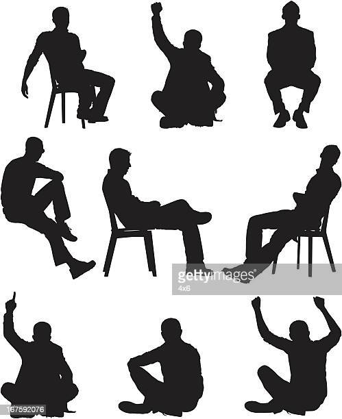 illustrazioni stock, clip art, cartoni animati e icone di tendenza di silhouette di uomo in diverse pose - sitting