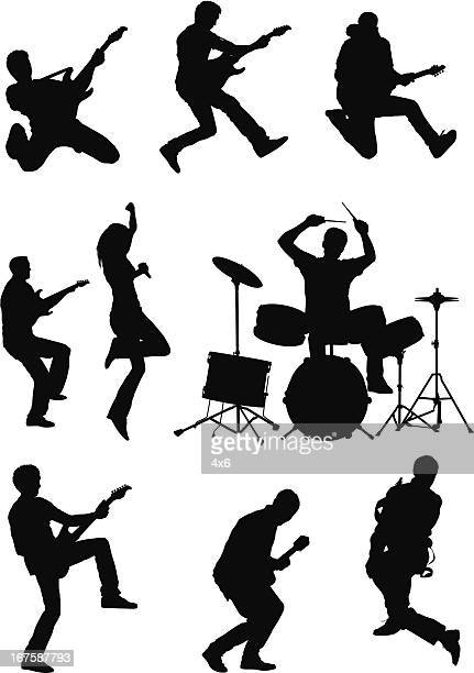 silhouette of musicians - drum kit stock illustrations