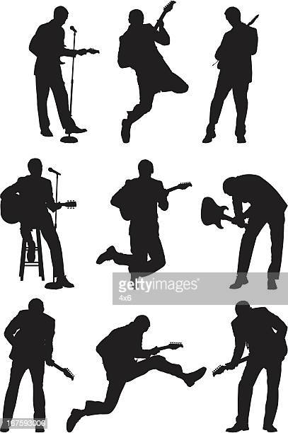 silhouette of musicians - microphone stand stock illustrations