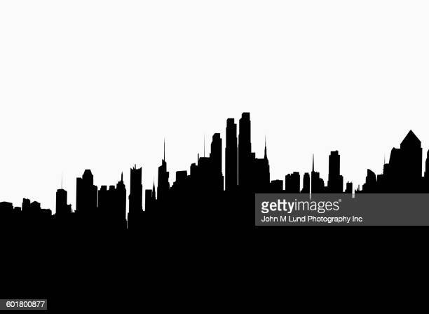 illustrations, cliparts, dessins animés et icônes de silhouette of new york cityscape, new york, united states - new york city