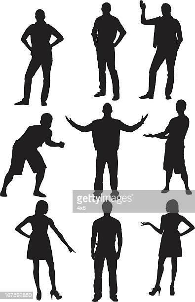 ilustrações, clipart, desenhos animados e ícones de silhueta de pessoas balançando um bastão - mão no quadril