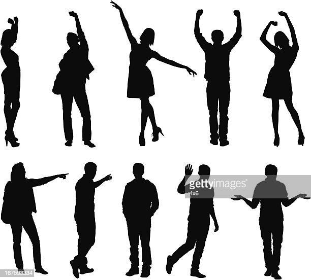 silhouette of people gesturing - human limb stock illustrations