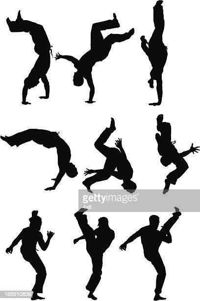 ilustrações de stock, clip art, desenhos animados e ícones de silhueta de pessoas em acção - capoeira