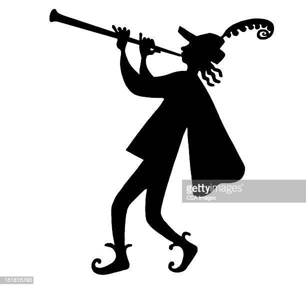 ilustraciones, imágenes clip art, dibujos animados e iconos de stock de silhouette of pied piper - un solo hombre