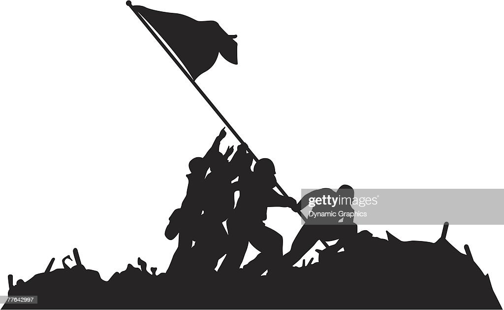 Image result for lifting a standard at iwo jima silhouette