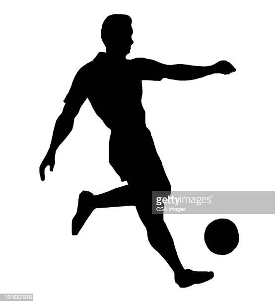 silhouette of soccer player - match sport stock illustrations, clip art, cartoons, & icons