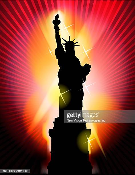 silhouette of statue of liberty - liberty island stock illustrations, clip art, cartoons, & icons