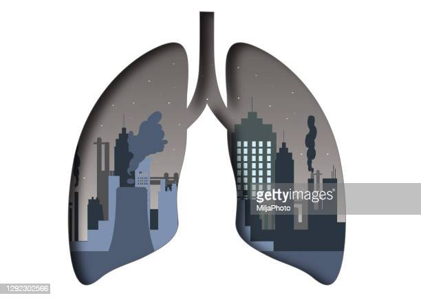 silhouette of the lungs, afflicted with air pollution - respiratory disease stock illustrations
