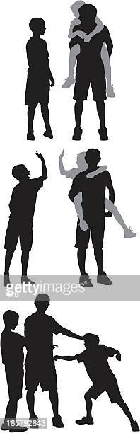 silhouette of three boys playing - piggyback stock illustrations, clip art, cartoons, & icons