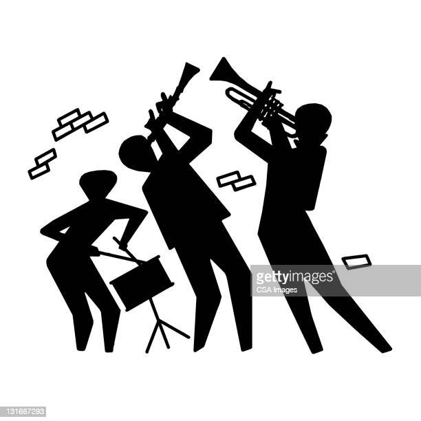 silhouette of trio playing - percussion instrument stock illustrations