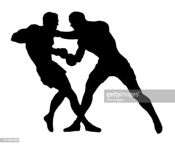 silhouette of two men fighting - match sport stock illustrations, clip art, cartoons, & icons
