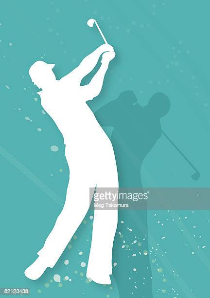 Silhouette of two men playing golf