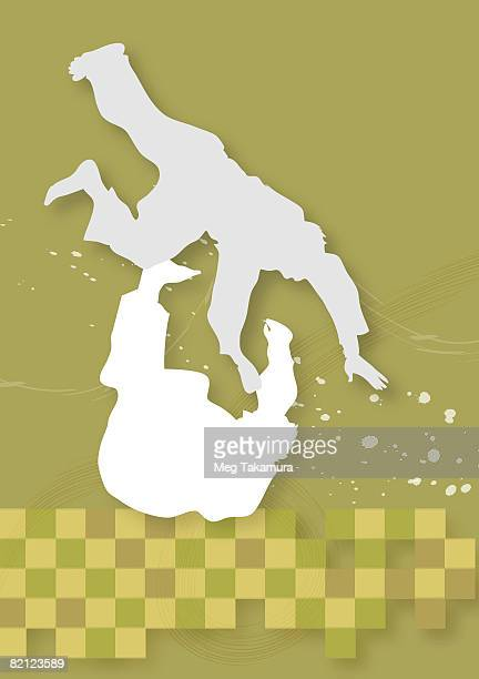 silhouette of two men practicing judo - lying on back stock illustrations, clip art, cartoons, & icons