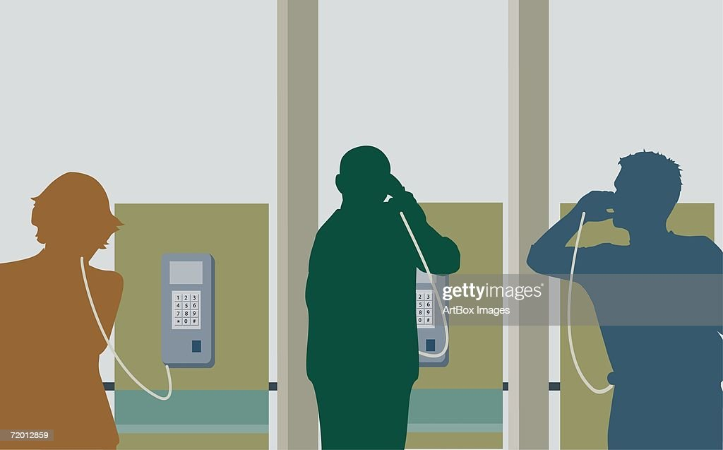 Silhouette of two young men and a young woman talking on pay phones : stock illustration